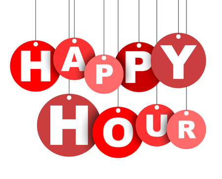 Red easy vector illustration isolated circle tag banner happy hour. This element is well adapted for web design. Vectores