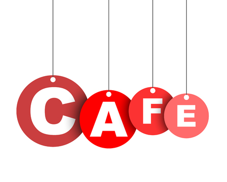 Red easy vector illustration isolated circle tag banner cafe. This element is well adapted for web design.