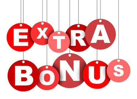 Rode eenvoudige vectorillustratie geïsoleerde cirkel tag banner extra bonus. Dit element is goed aangepast voor webdesign. Vector Illustratie