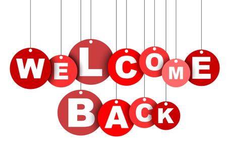 Czerwony łatwy wektor ilustracja na białym tle koło tag banner witamy z powrotem. Ten element jest dobrze dostosowany do projektowania stron internetowych. Ilustracje wektorowe