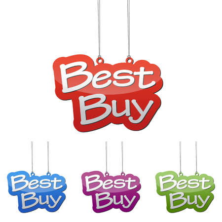 choise: Set vector illustrations isolated tag banner best buy in four color variant red, blue, purple and green. This element is wel adapted for web design.
