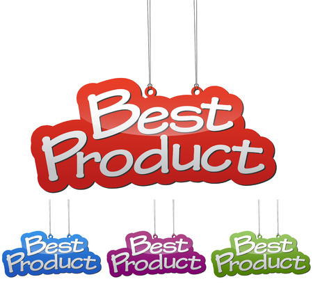 Set vector illustrations isolated tag banner best product in four color variant red, blue, purple and green. This element is wel adapted for web design.
