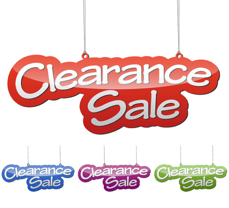 Set vector illustrations isolated tag banner clearance sale in four color variant red, blue, purple and green. This element is wel adapted for web design.