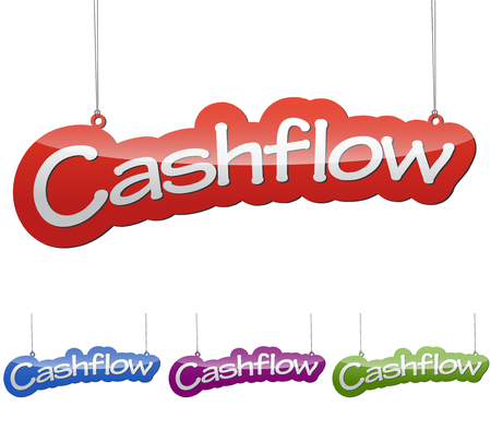 passive earnings: Set vector illustrations isolated tag banner cashflow in four color variant red, blue, purple and green. This element is wel adapted for web design. Illustration
