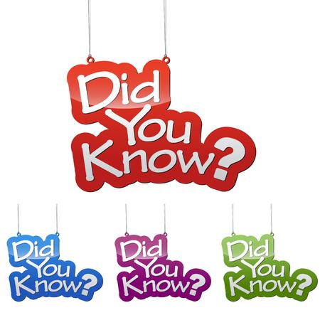 Stel vectorillustraties geïsoleerde tag banner kende u in vier kleuren variant rood, blauw, paars en groen. Dit element is goed aangepast voor webdesign.