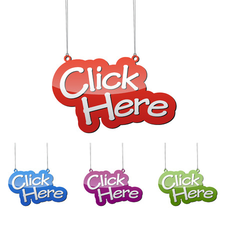 Set vector illustrations isolated tag banner click here in four color variant red, blue, purple and green. This element is wel adapted for web design. Illustration