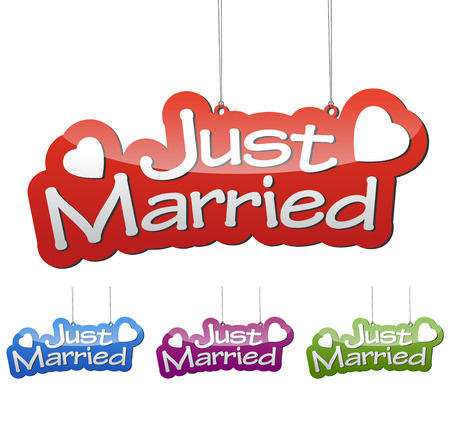 Set vector illustrations isolated tag banner just married in four color variant red, blue, purple and green. This element is wel adapted for web design. 向量圖像