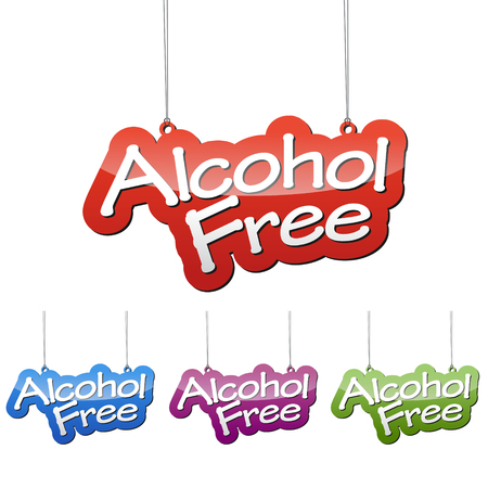 Set vector illustrations isolated tag banner alcohol free in four color variant red, blue, purple and green. This element is wel adapted for web design. Illustration