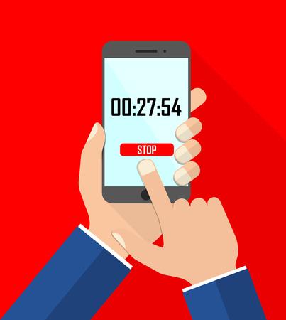 flat design vector illustration smartphone with hands - stopwatch Ilustração