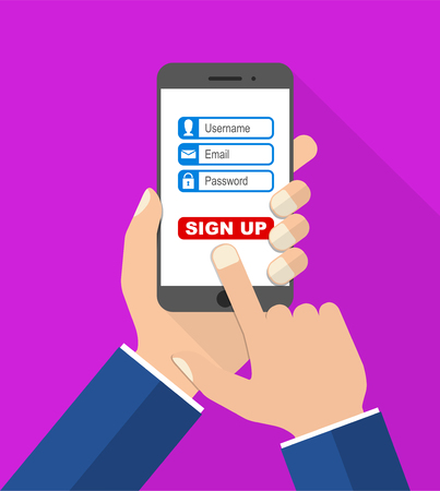 sign: flat design vector illustration smartphone with hands - sign up