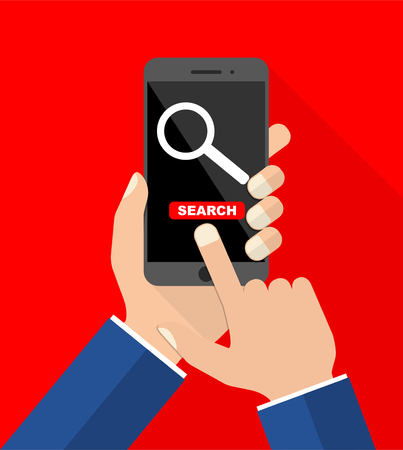 flat design vector illustration smartphone with hands - search