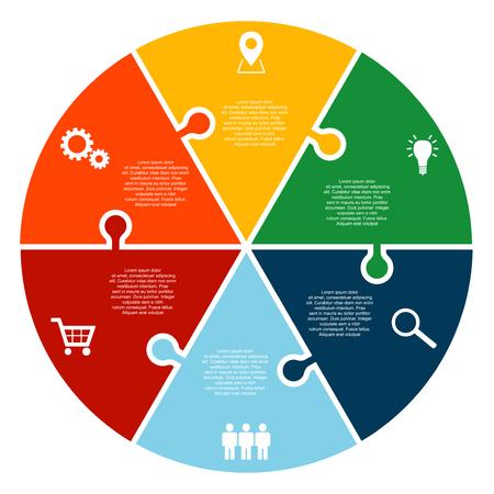 zes stap puzzel cirkel vector infographic sjabloon met pictogrammen
