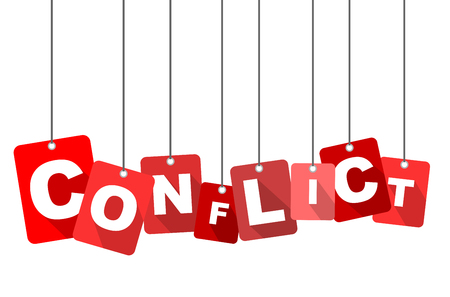 Red vector flat design background conflict. It is well adapted for web design.