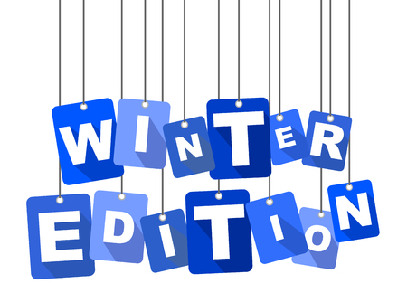 holiday shopping: Blue vector flat design background winter edition. It is well adapted for web design. Illustration