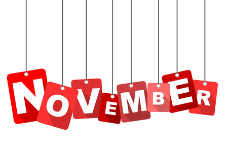 Red vector flat design background november. It is well adapted for web design.