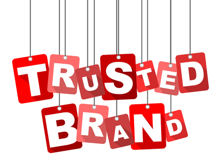 trusted: Red vector flat design background trusted brand. It is well adapted for web design.