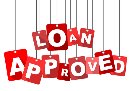 seal of approval: Red vector flat design background loan approved. It is well adapted for web design.