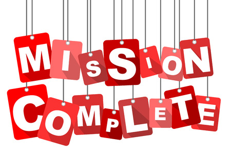 accomplish: Red vector flat design background mission complete. It is well adapted for web design.