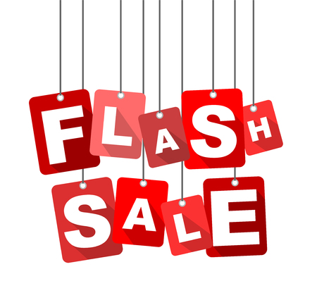 Red vector flat design background flash sale. It is well adapted for web design.