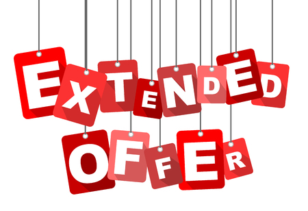 Red vector flat design background extended offer. It is well adapted for web design.