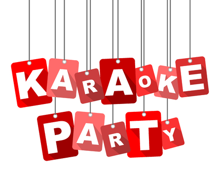 Red vector flat design background karaoke party. It is well adapted for web design.