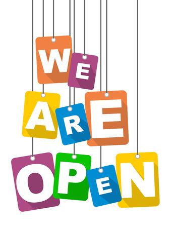 vector illustration background we are open Stock Illustratie