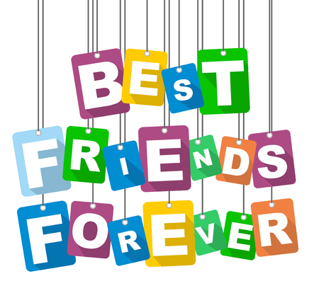 Colorful vector flat design background best friends forever. 版權商用圖片 - 92689746