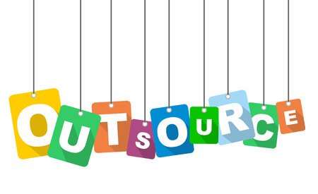 Colorful vector flat design background outsource. It is well adapted for web design.