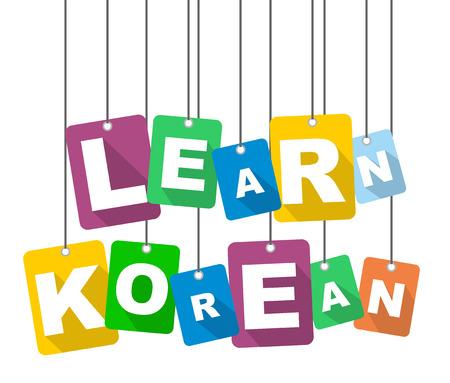 De kleurrijke vector vlakke ontwerpachtergrond leert Koreaans. Het is goed aangepast voor webdesign.