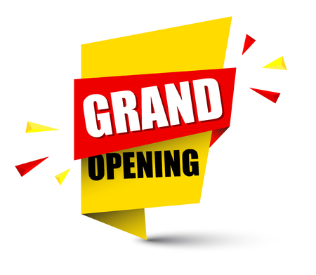Banner grand opening illustration.