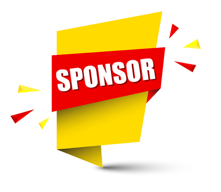 sponsor banner in yellow and orange, Vector illustration.