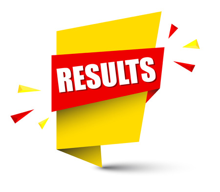 results banner in yellow and orange, Vector illustration. Vectores