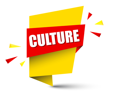 culture banner in yellow and orange, Vector illustration. Çizim