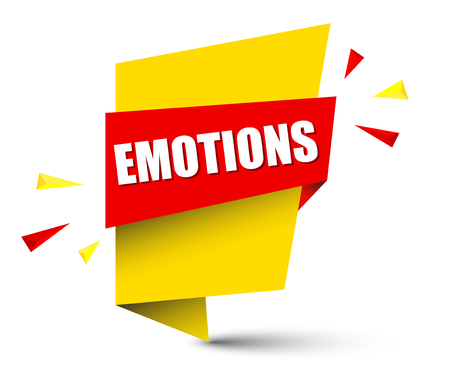 emotions banner in yellow and orange, Vector illustration.