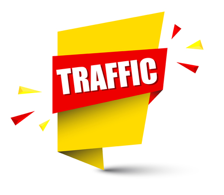 Banner traffic in yellow square shape pattern.