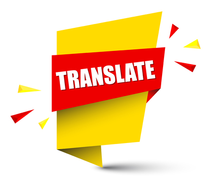 Banner translate in yellow square shape pattern. Illustration