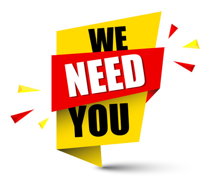 banner we need you illustration. Vettoriali