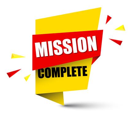 banner missie compleet illustratieontwerp. Vector Illustratie