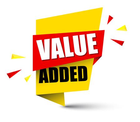 Banner value added icon illustration on white background. Illustration