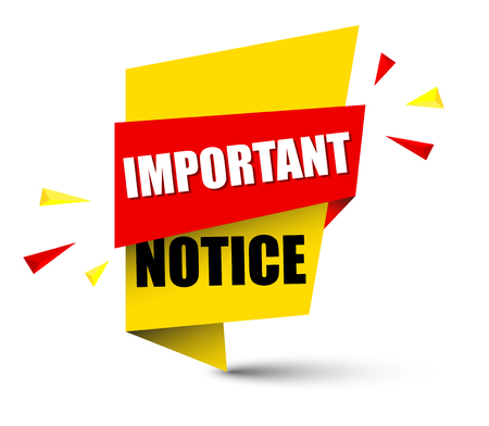 Banner important notice icon illustration on white background. Çizim