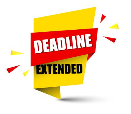 Banner deadline extended icon illustration on white background. 일러스트