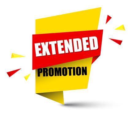 Banner extended promotion icon illustration on white background. Illustration