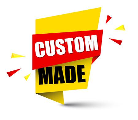 Banner custom made icon illustration on white background.