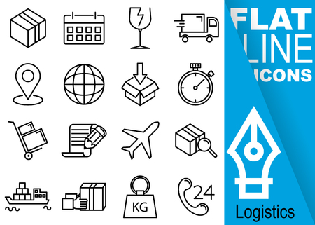 Editable stroke 70x70 pixel. Simple Set of logistics vector sixteen flat line Icons with vertical blue banner - box, calendar, fragile, car, map pointer, globe, stopwatch, cart, contract, plane, ship, weights, support Illustration