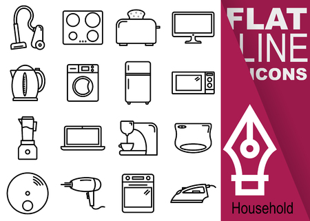 Simple Set of household vector sixteen flat line Icons with vertical purple banner - vacuum cleaner, stove, toaster, television, kettle, washing machine, refrigerator, microwave oven, smoothie maker, notebook, coffee maker, fire alarm, hair dryer, oven, iron