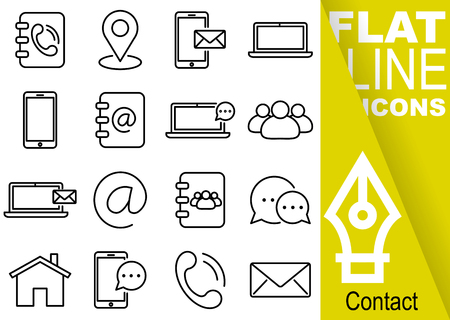Editable stroke 70x70 pixel. Simple Set of contact vector sixteen flat line Icons with vertical yellow banner - directory, map, sms, notebook, smartphone, phonebook, mail, people, interview, home, handset, envelope Ilustração
