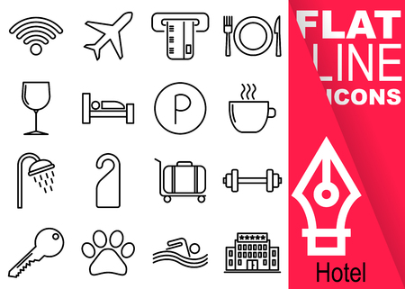 Editable stroke 70x70 pixel. Simple Set of hotel vector sixteen flat line Icons with vertical red banner - wifi, airplane, card, meal, drink, room, parking, breakfast, shower, not enter, suitcase, gym, key, pet, swimming pool