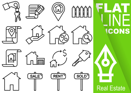 Editable stroke 70x70 pixel. Simple Set of real estate vector sixteen flat line Icons with vertical green banner - key, contract, fence, map, discount, find, drawing, garage, sale, house, sale, rent, sold
