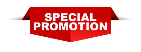 Banner speciale promotie logo ontwerp geïsoleerde vectorillustratie