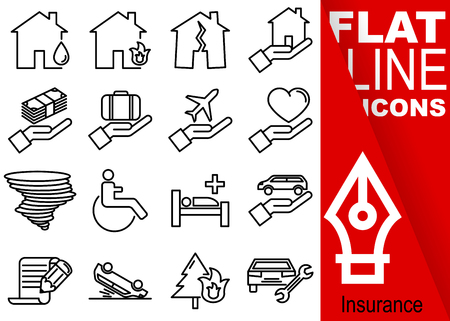 Editable stroke  Simple Set of insurance vector sixteen flat line Icons with vertical red banner. Illustration